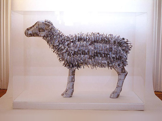 EU Ewe, a money sculpture by Justine Smith, London