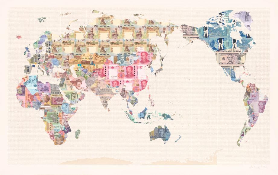 Money Map of the World - China - a limited edition money map print by Justine Smith, London