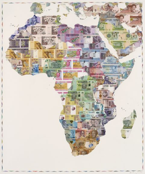 Money Map of Africa 2015 - a limited edition money map print by Justine Smith, London