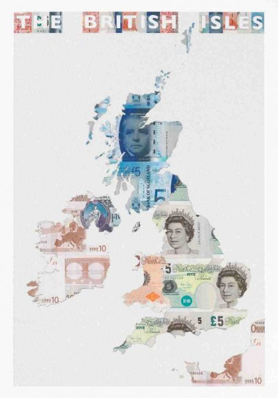 The British Isles - a limited edition money map print by Justine Smith, London