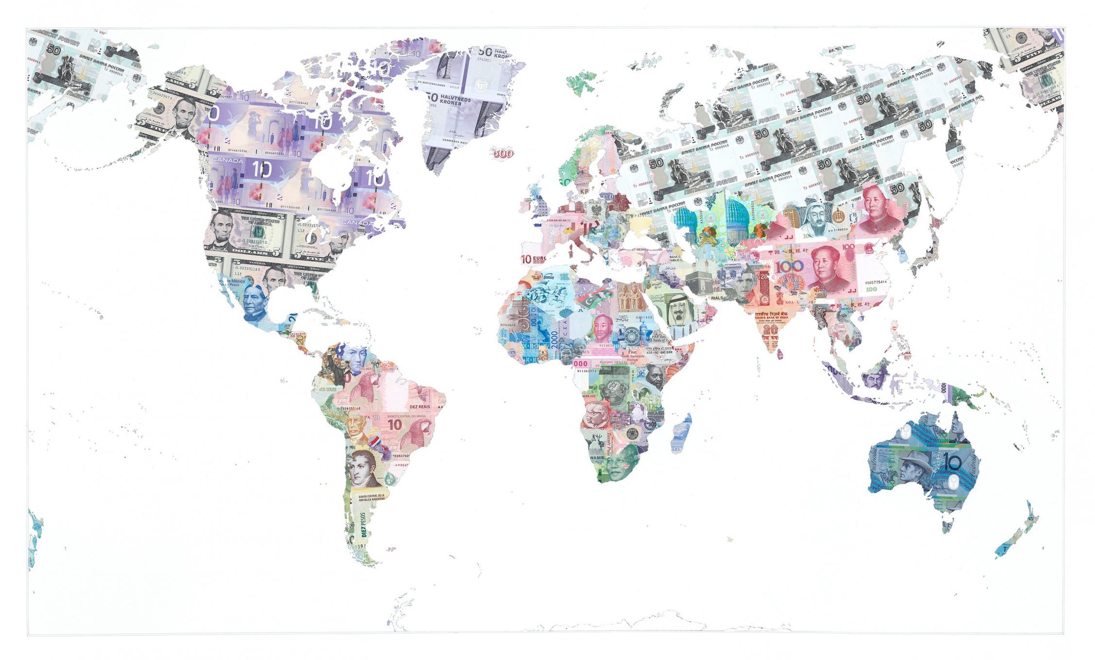 Money maps limited editions justine smith money map of the world 2013 a limited edition money map print by justine smith gumiabroncs Image collections