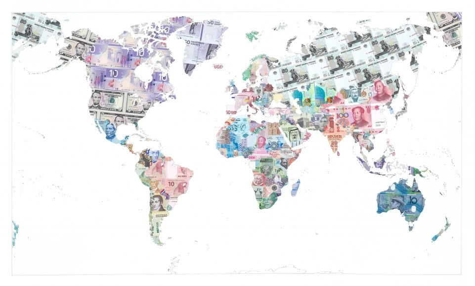 Money Map of the World 2013 - a limited edition money map print by Justine Smith, London