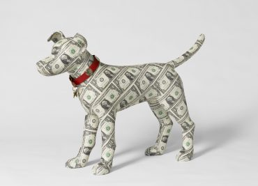 Dollar covered Dog Sculpture