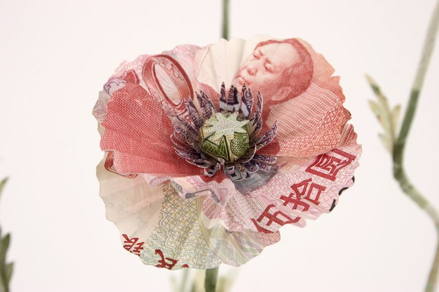 Poppy plant sculpture made from Chinese Yuan