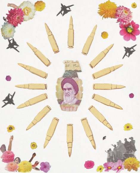Crowd Control – Iran, a weapon collage by Justine Smith, Artist