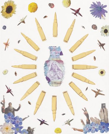 Crowd Control – Libya, a weapon collage by Justine Smith, Artist