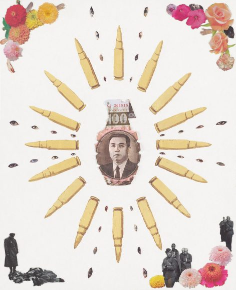 Crowd Control – North Korea, a weapon collage by Justine Smith, Artist