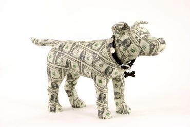 Benjamin, dollar dog sculpture
