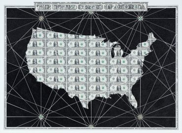 US Dollar and glitter collage map of The United States of America