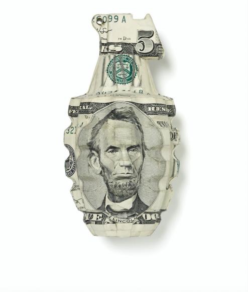 US Dollar grenade sculpture
