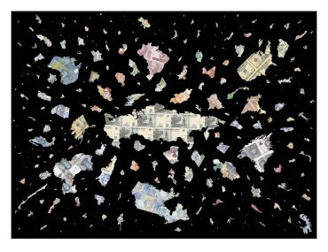 A Bigger Bang - Black - a limited edition money map print by Justine Smith, London