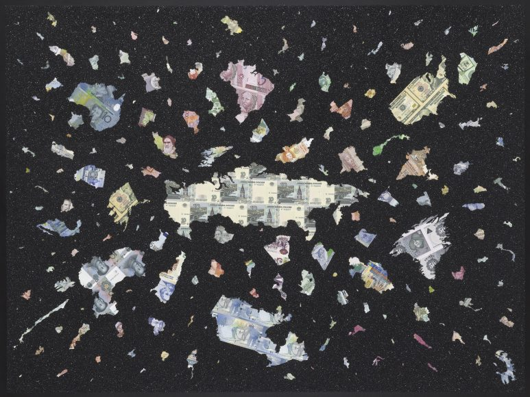 Bigger Bang Black - Diamond Dust Edition - a limited edition money map print by Justine Smith, London