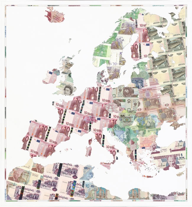 Euro Europe - a limited edition money map print by Justine Smith, London