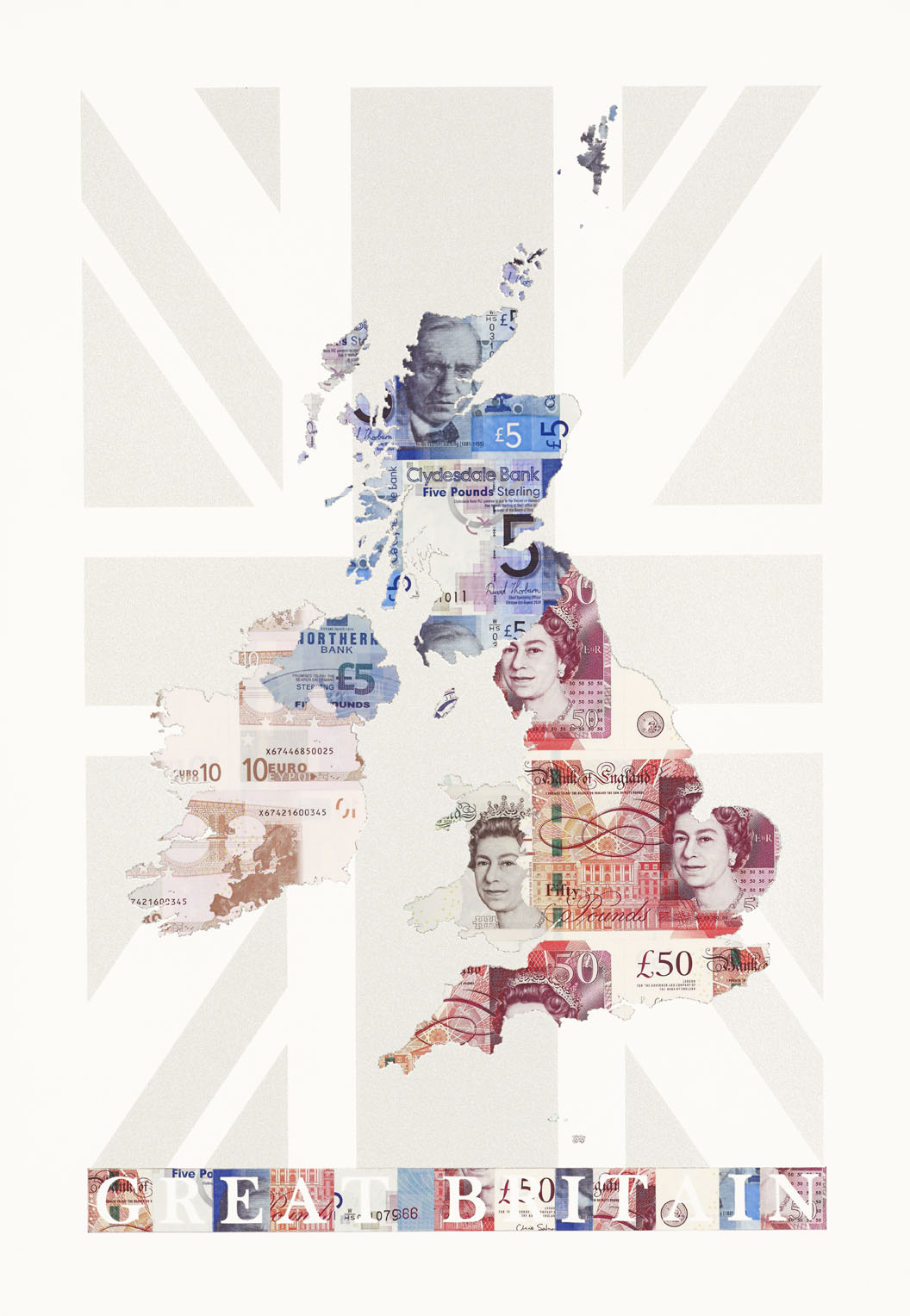 Great Britain - a limited edition money map print by Justine Smith, London