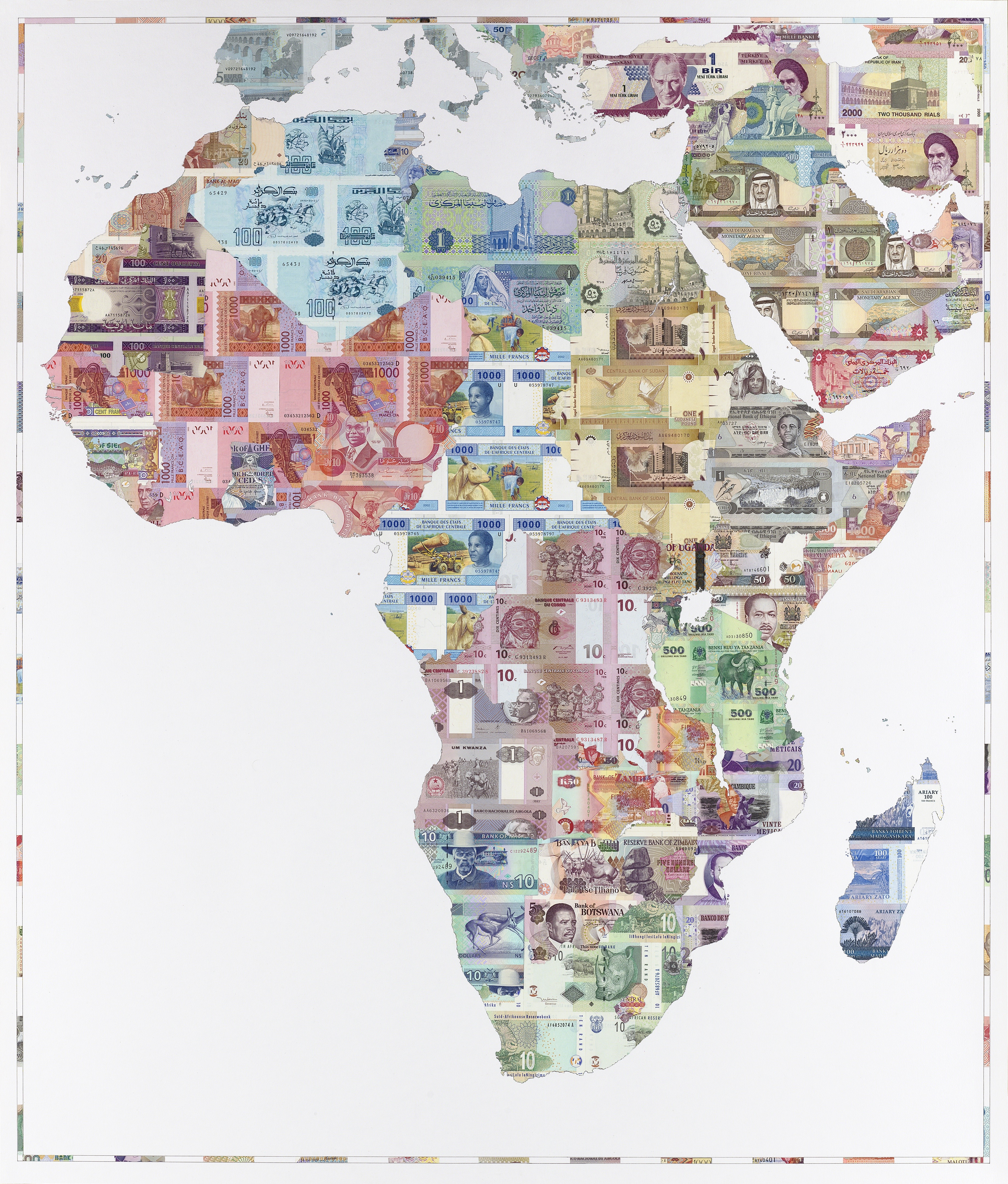 Money Map of Africa 2007 - a limited edition money map print by Justine Smith, London