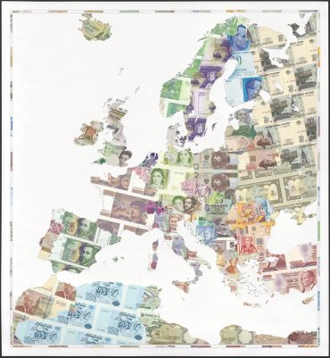 Old Europe - a limited edition money map print by Justine Smith, London
