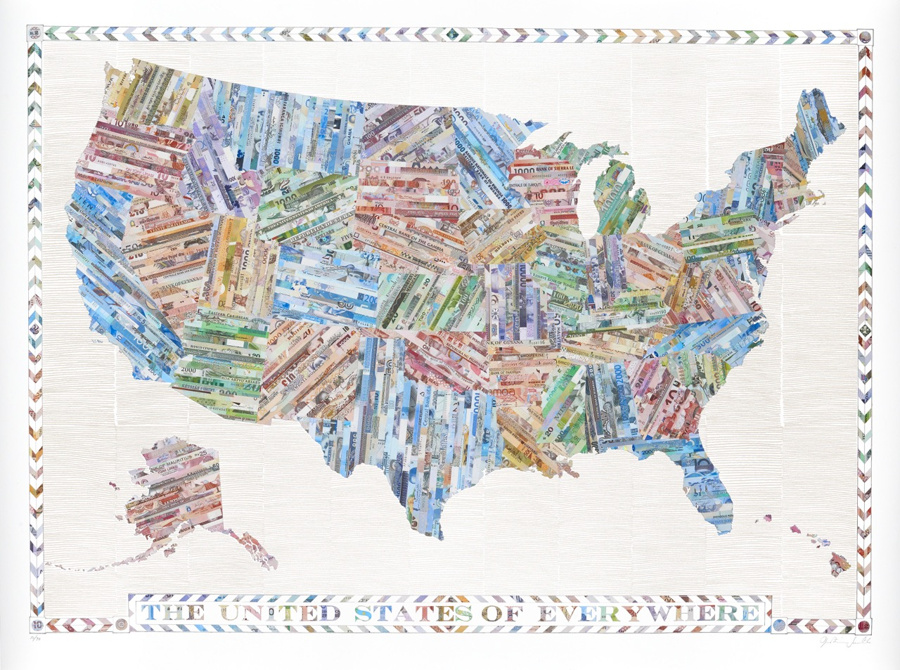 The United States of Everywhere - a limited edition money map print by Justine Smith, London