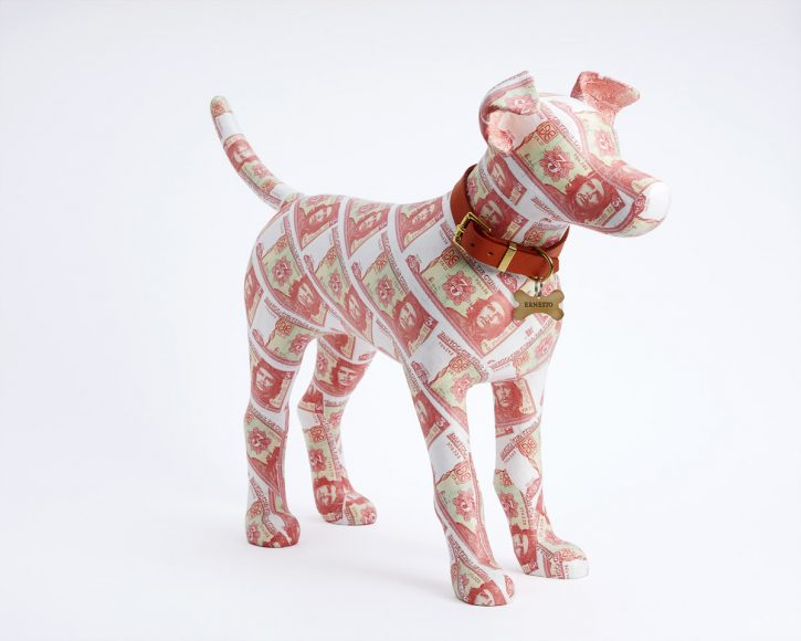 Ernesto - currency covered dog sculpture