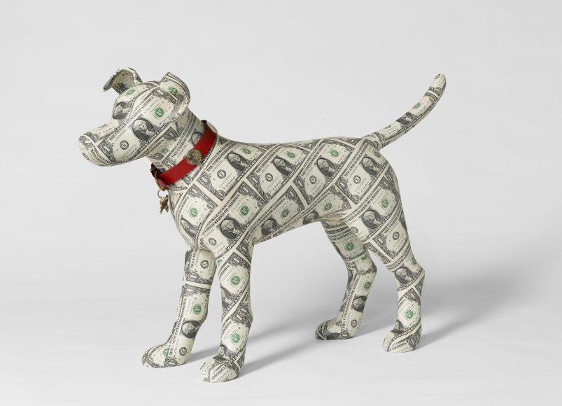 Dollar covered Dog Sculpture