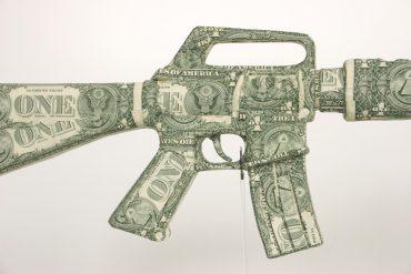 US Dollar gun gun sculpture