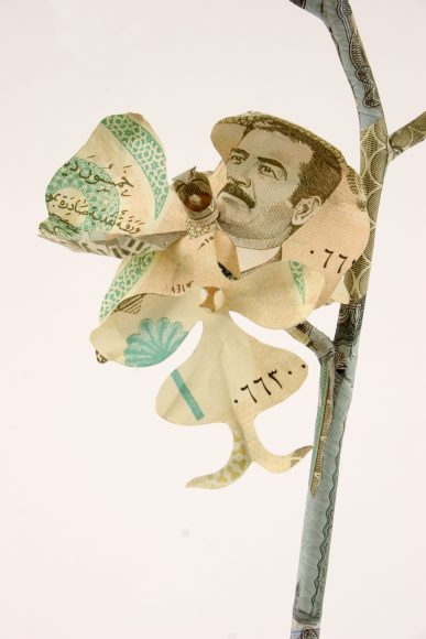Orchid plant sculpture made of Iraqi Dinar