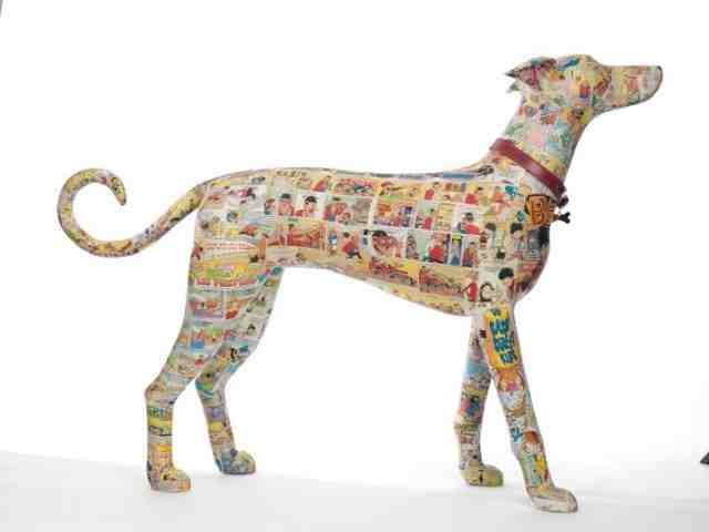 Beano covered dog sculpture