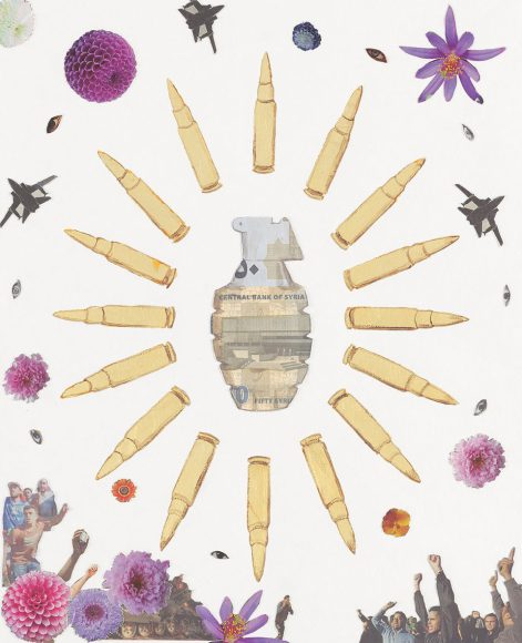 Crowd Control – Syria, a weapon collage by Justine Smith, Artist