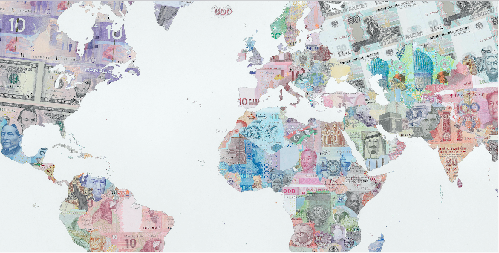 Money map of the World - detail shot