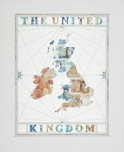 Money map of the United Kingdom, collage on paper