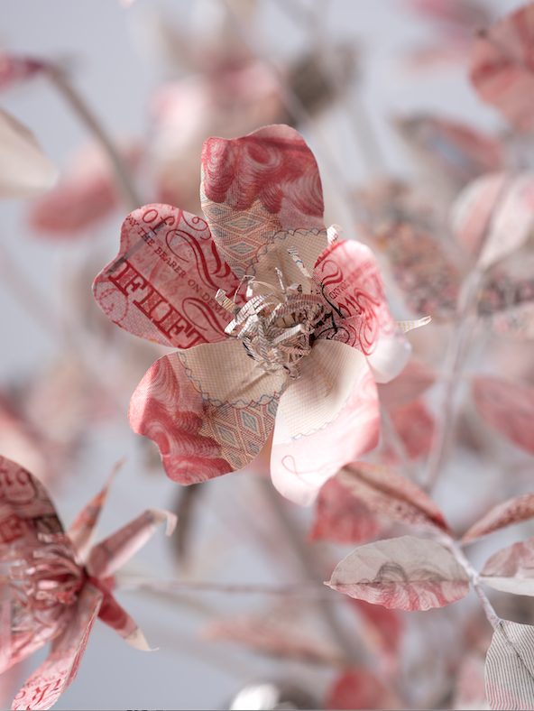 Paper Money Flower sculpture